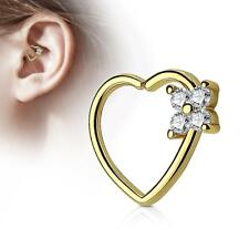 Gold 16 Gauge Heart  Ear Cartilage/Daith Hoop Ring with Clear Flower Set CZ