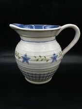 "COUNTRY LIVING DRY GOODS BLUE CHECK/FLOWER PITCHER ENESCO/COUNTRY LIVING 7"" TALL"