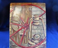 1955 Oil on Board Farm Country Collage of Barn Implements, Signed V. Haney