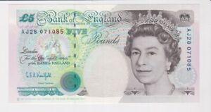 BANK OF ENGLAND £5 FIVE POUND BANKNOTE SUPERB CONDITION KENTFIELD AJ28 071085