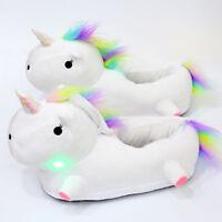 Leuchtende Einhorn Hausschuhe Pantoffeln Hausschlapfen Unicorn Light Up Slippers