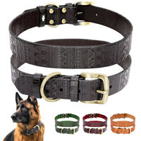 Genuine Real Leather Dog Collar With Heavy Duty Buckle for Small To Large Dogs