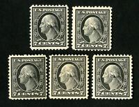 US Stamps # 507 F-VF Lot of 5 OG LH Catalog Value $120.00