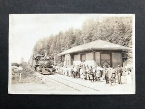 RPPC-Barview OR-Railroad Station-Train-Depot-Oregon-Tillamook Co-Real Photo-RR