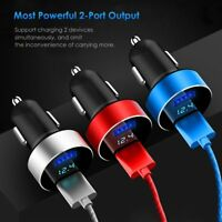 Universal Car Charger Dual Port 5V 3.1A USB LED Screen For Tablet Mobile Phone