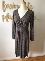 Boom Shanka Womens Dress Brown Wave Size 12 Cotton Casual Long Sleeve Stretch