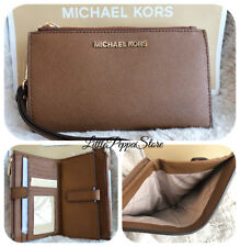 MICHAEL KORS JET SET TRAVEL DOUBLE ZIP WRISTLET WALLET LEATHER LUGGAGE