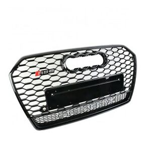 For 2016 2017 2018 Audi A6/S6 C7.5 Honeycomb RS6 Style Quattro Grill Gloss Black