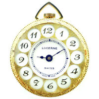 LUCERNE VINTAGE WHITE DIAL GOLD PLATED POCKET WATCH FOR PARTS OR REPAIRS