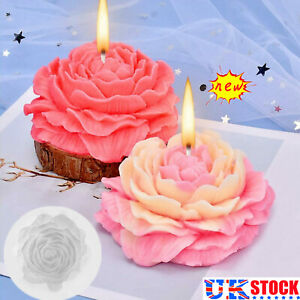 3D Peony Shape Candle Making Moulds Silicone Craft Aromatherapy Mold DIY Tool UK