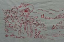 antique red work runner Kate Greenaway style 14 x 27 white cotton original vg