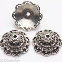 Wholesale 10/20 PCS Hollow Out Flower Shape Tibetan Silver Beads Caps 15x7mm