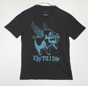Local Celebrity Men Medium Short Sleeve Olive T-Shirt Flying Pig Graphics