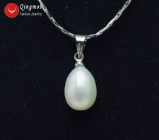 8-9mm White Drop Natural Pearl Pendant Necklace for Women Silver Plated Chain