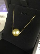 12.3mm Round Golden South Sea Pearl Pendant Necklace 16-18""