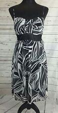 ☆☆Onyx Nite☆☆ Black & White Patterned Dress. Size 10. Floaty Overlay.