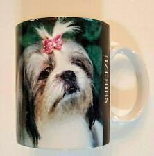 Coffee Mug Shih Tzu Puppy Toy Dog Lover Cup Pink Bow Pony Tail w/ Legend History