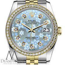 Ice Blue Flower Rolex 36mm Datejust 18K & SS Diamond Accent Unisex Watch