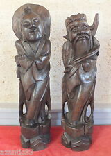 escultura estatua China Asia antigua madera incrustaciones hilos plata