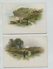 Set of 2 Victorian Trade Cards Landscapes Cottages by sea