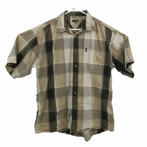Jeep Mens Shirt Size XL Brown Checkered Short Sleeve Button Up Collared