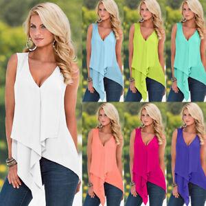 Summer Women Casual V Neck Sleeveless T Shirt Solid Tops Loose Chiffon Blouse
