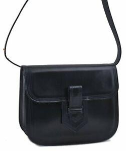 Authentic YVES SAINT LAURENT Hand Bag Leather Navy Blue C8889