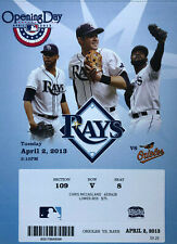 Baltimore Orioles vs Tampa Bay Rays Ticket Stub 4/2/13 - Opening Day! Mint!!!