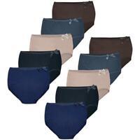 10 Damen Slips mit Spitze Unterhosen Taillen Unterwäsche Baumwolle Taillenslips