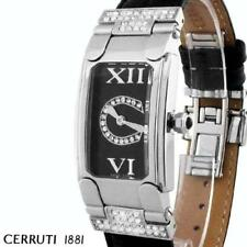 CERRUTI LADIES RIMINI SWAROVSKI SWISS WATCH NEW BLACK LEATHER CT68302X103012