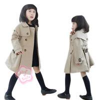 Girls Autumn Double-Breasted Trench Coat Kids Wind Jacket Outwear SZ 3 4 5 6 7 8