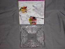 """Unique Crystal Box Set of Four 7"""" Serving Plates  Dinner Party Entertain NEW!"""
