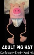 PIG HAT Knit ADULT pink CURLY TAIL beanie delux FLC LINED animal costume toque