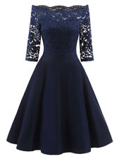 New Women Dress Lace Off Shoulder Vintage Flare Short Sleeve Evening Party Dress