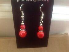 Red splash Bead drop earrings