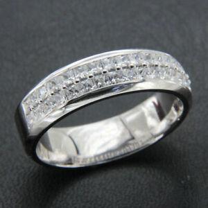 Half Eternity Men's Engagement Wedding Classic Ring 14k White Gold 3.2Ct Diamond