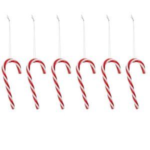 5 Stück - Zuckerstangen rot-weiß Kunstoff mit Aufhängung 13cm Weihnachtskugeln