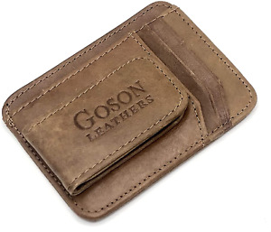 Men's Leather Front Pocket Card Holder Wallet With Magnetic Money Clip NEW