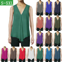 Womens Vest Top Cami Chiffon T Shirt Sleeveless Blouse Ladies V Neck Summer Tops