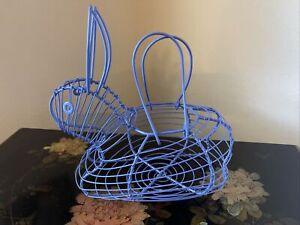 Purple Rabbit Shaped Egg Basket Holder Metal Wire Basket House Decor