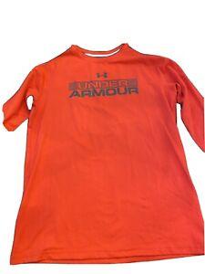 Under Armour Yourh Large Long Sleeve Shirt. Orange And Grey