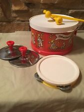 1979 Fisher Price Toy Drum Kit Set Tambourine, Symbols, & Drumsticks