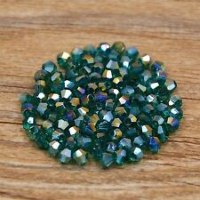 Swarovskii 5301# 4 mm Bicone Crystal bead E 100 Pieces Peacock green AB