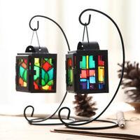 KQ_ AB_ KM_ Hanging Glass Moroccan Style Iron Lantern Tea Light Candle Holder Ho