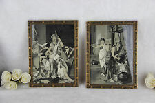 Antique Pair Framed art deco Fine Art Tapestry oriental ladies Wall plaques
