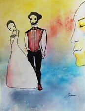 ORIGINAL watercolor painting modern IMAGINERY fine ART fantasy woman & man love
