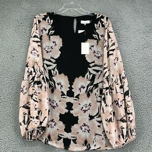 Calvin Klein Blouse 1X Womens Plus size Black Pink Floral Print Long Sleeve NEW