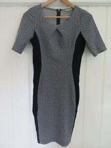 VERONIKA MAINE FOR CUE Sz 8 Black & Grey Herringbone Dress VGC