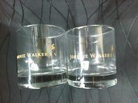 "2 JOHNNIE WALKER SCOTCH WHISKY GLASS 3.2"" TALL-  KEEP WALKING!!!"
