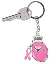 """""""FIGHT"""" Pink Boxing Glove Breast Cancer Awareness Key chain w/ Ribbon charm"""